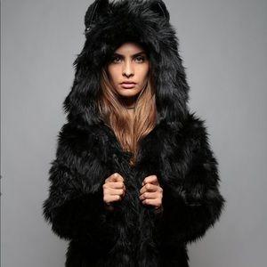 139c61538c37 SpiritHoods Jackets & Coats - SpiritHoods black wolf hooded faux fur coat S